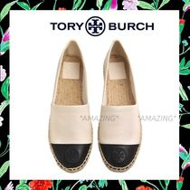 Tory Burch Platform Round Toe Plain Leather Elegant Style Lace-Up Shoes
