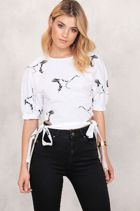 Short Casual Style Other Animal Patterns Puff Sleeves