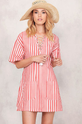Short Stripes Casual Style V-Neck Short Sleeves Dresses