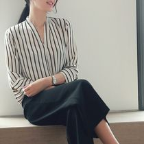 Stripes Cropped Office Style Shirts & Blouses