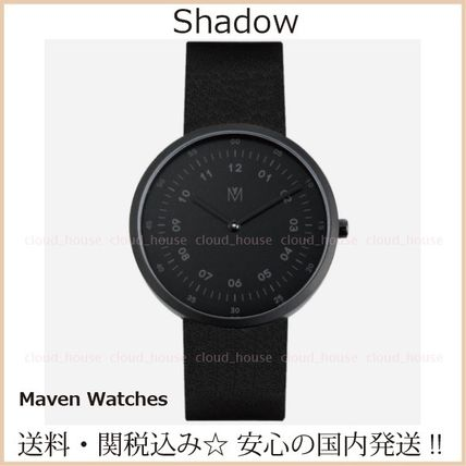 Unisex Leather Round Quartz Watches Office Style