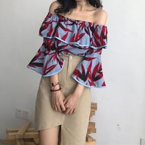 Tropical Patterns Casual Style Peplum Street Style Cotton