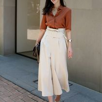 Plain Office Style Culottes & Gaucho Pants