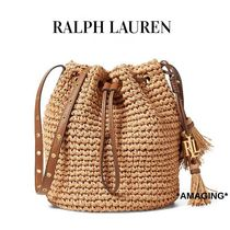 Ralph Lauren Casual Style Tassel Plain Leather Straw Bags