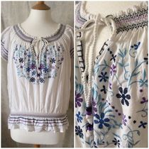 Primark Flower Patterns Casual Style Cotton Short Sleeves