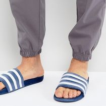 adidas ADILETTE Stripes Unisex Velvet Plain Shower Shoes Shower Sandals