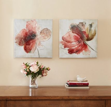 Two sets of canvas art painting Lovely Blooms.