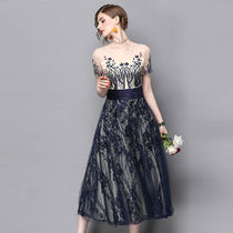 Flower Patterns A-line Long Short Sleeves Lace Party Dresses