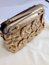 FENDI BY THE WAY Mini Shoulder Boston Bag / Gold Flower