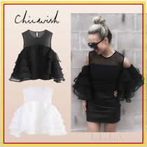 Chicwish Plain Medium Party Style Puff Sleeves Shirts & Blouses