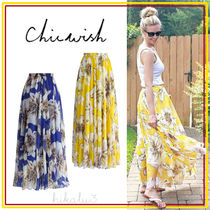 Chicwish Flared Skirts Flower Patterns Casual Style Long Maxi Skirts