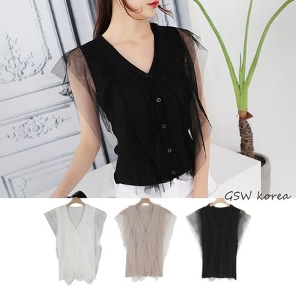 Korean designers summer tulle sleeve V neck knit top