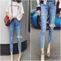 Casual Style Denim Plain Medium Short Length Jeans