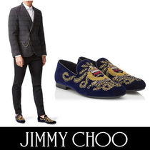 Jimmy Choo Plain Toe Velvet Blended Fabrics Bi-color Plain