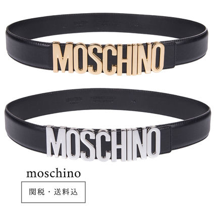 Moschino Casual Style Plain Leather Belts