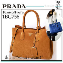 PRADA Suede A4 2WAY Plain Elegant Style Handbags