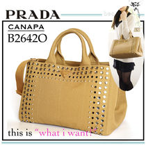 PRADA CANAPA Casual Style Canvas A4 2WAY Plain Totes