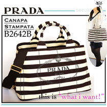 PRADA CANAPA Stripes Casual Style Canvas A4 2WAY Totes