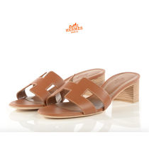 HERMES Open Toe Leather Block Heels Sandals