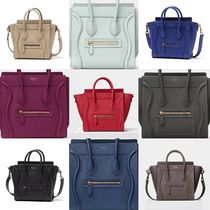 CELINE Luggage 2WAY Plain Leather Elegant Style Shoulder Bags