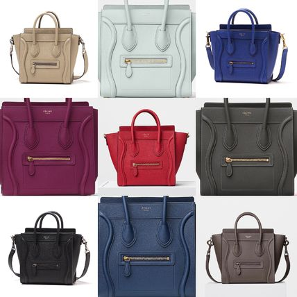 Celine Shoulder Bags 2way Plain Leather Elegant Style