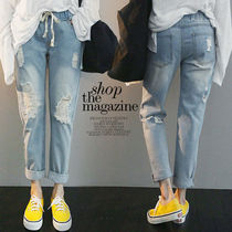 NANING9 Casual Style Denim Plain Long Oversized Jeans