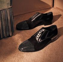 Jimmy Choo Dots Straight Tip Studded Plain Leather Oxfords