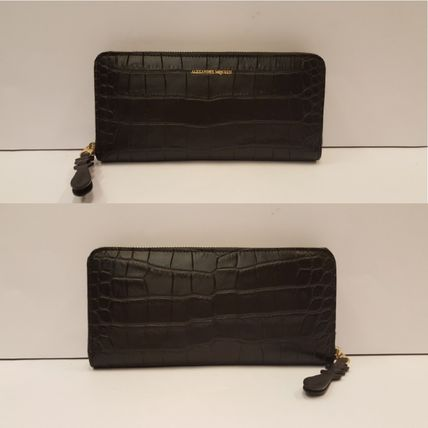 Long Alexander McQueen logo zip around wallet black