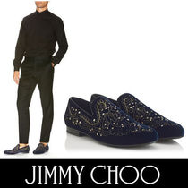 Jimmy Choo Plain Toe Velvet Bi-color Plain With Jewels