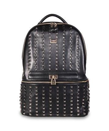 Casual Style Faux Fur Studded A4 Plain Backpacks