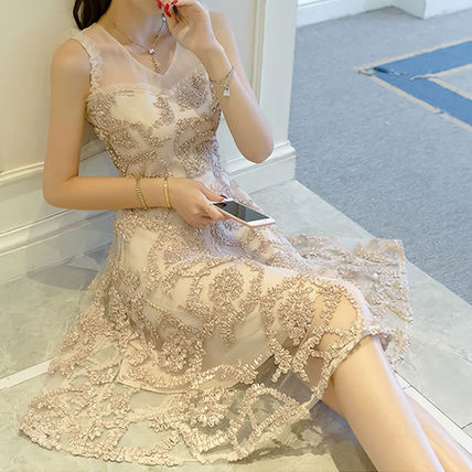 Lace motif sheer sleeveless dress dress m