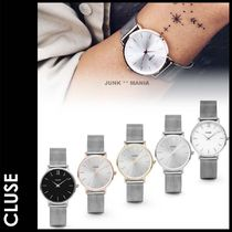 CLUSE Casual Style Round Silver Analog Watches