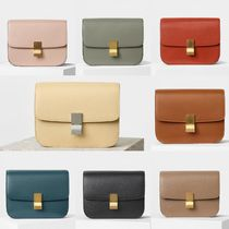 CELINE Classic Plain Leather Elegant Style Shoulder Bags