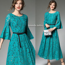 Flower Patterns Flared Long Lace Puff Sleeves Party Dresses