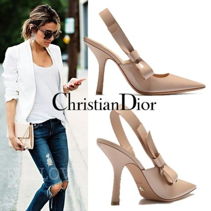 Dior ▼ adult cute Ribbon nude pumps can use any outfit