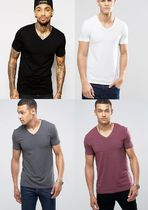 ASOS V-Neck Plain Cotton Short Sleeves V-Neck T-Shirts