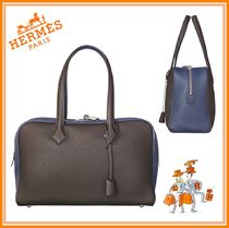 HERMES Victoria Bi-color Leather Elegant Style Totes