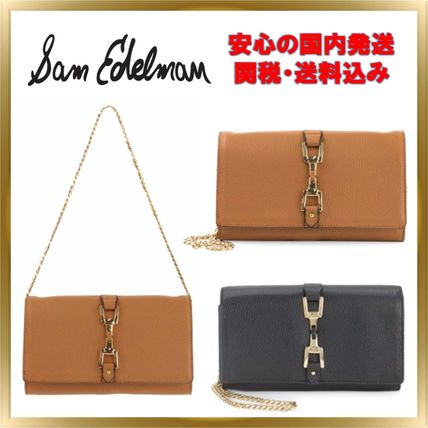 Chain Plain Leather Long Wallets