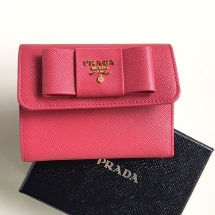 Saffiano Ribbon folding wallet PEONIA