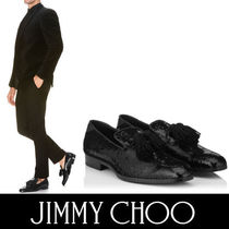 Jimmy Choo Plain Toe Tassel Plain Leather Loafers & Slip-ons