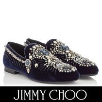 Jimmy Choo Plain Toe Velvet Plain With Jewels Loafers & Slip-ons