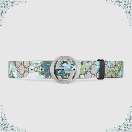Gucci GG Blooms blue blooms patterned G buckle belt