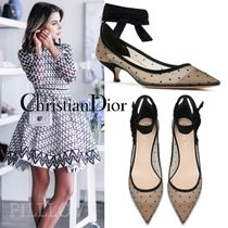 Christian Dior Dots Suede Pin Heels Elegant Style Pointed Toe Pumps & Mules