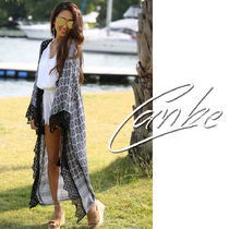 Paisley Casual Style Long Sleeves Long Lace Gowns Cardigans