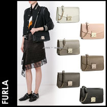 FURLA METROPOLIS Plain Leather Elegant Style Shoulder Bags