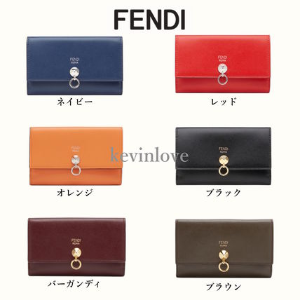 FENDI Calfskin Studded Plain Long Wallets