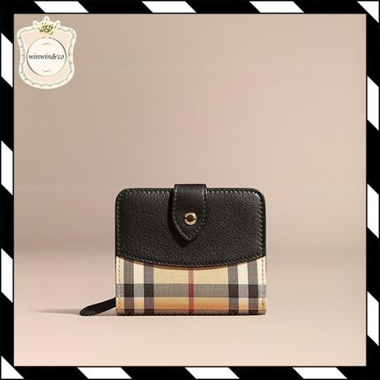 Burberry check horse ferry & leather wallet