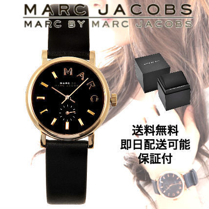 Marc by Marc Jacobs Leather Round Quartz Watches Elegant Style
