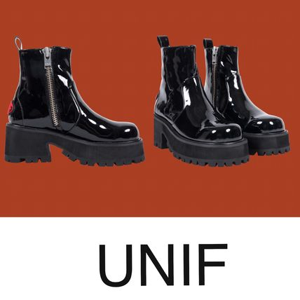 UNIF Clothing Casual Style Plain Block Heels Boots Boots