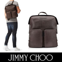 Jimmy Choo Unisex Crocodile A4 Plain Other Animal Patterns Backpacks